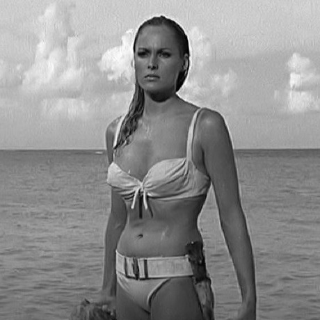 Ursula Andress as Bond Girl Honey Ryder in James Bond and Dr. No